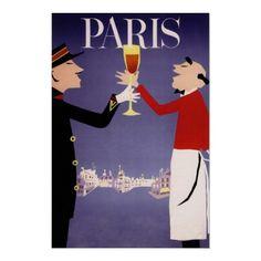 Vintage Travel Poster, Paris