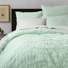Crinkle Duvet Cover + Shams - Aqua | west elm