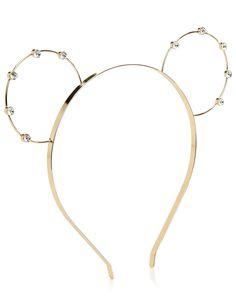 Gold Rhinestone Animal Ears Headband #gold #headband #ears