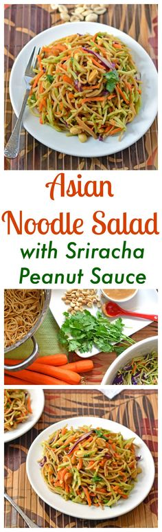 Asian Noodle Salad with Sriracha Peanut Sauce. Might make it more mild with less Sriracha sauce. Lunch Snacks, Vegetarian Recipes, Cooking Recipes, Healthy Recipes, Comidas Light, Fingerfood Party, Asian Noodles, Rice Noodles, Zucchini Noodles