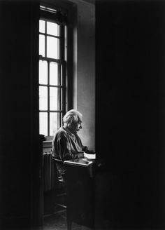 Albert Einstein sits alone at the Institute for Advanced Study, 1947.
