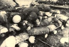 Klooga, Estonia, Corpses ready for burning, found by Soviet soldiers after liberation.