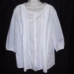 GAP White Blouse NEW 14 16 Pintuck Shirt #GAP #Blouse