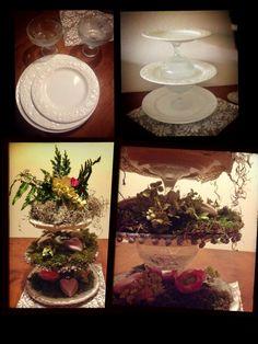 3 borden van verschillend formaat, 2 dessertglazen -allemaal van de kringloop-, lijmpistool, kant, wat mos, groen en wat leuke accessoires et voilà! Un etagière...