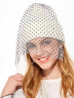 SheIn - SheIn White Contrast Pom Pom Mesh Veil Beanie Hat - AdoreWe.com