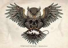 Owl Skull Tattoo by Sam-Phillips-NZ.deviantart.com on @deviantART