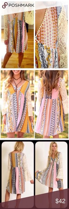 ❣NEW IN❣ Multipattern Pastel Lace Loose Dress This dress is beyond amazing!! I am so happy I was able to get it in plus size since I've been asked that for months! Sizes XL XXL XXXL. Dresses Mini