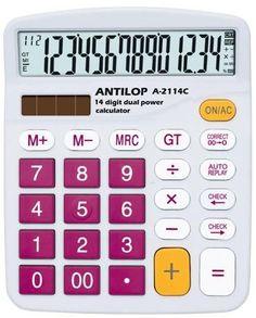 Antilop A-2114C színes asztali számológép 14 számjegyű nagy kijelző, memória funkció, GT, műveletek közötti előre és vissza léptetés, auto replay, 00 javítás 0-ra, és alapműveletek. Működési mód: ceruzaelem+napelem. Méret: 145 x 120 x 40 mm. Rendelhető szín: bordó