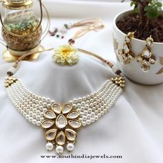 Buy online moti Necklaces - Deep pink stone & pearl necklace from Aza Fashions Indian Wedding Jewelry, Indian Jewelry, Bridal Jewelry, Beaded Jewelry, Pearl Jewelry, Antique Jewellery Designs, Jewelry Design, Kundan Jewellery Set, Kundan Set