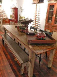 rescued furniture... great farm table from old barn door!