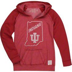 Indiana Hoosiers Original Retro Brand Women's Raw Edge Two Tone Hooded Sweatshirt