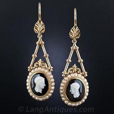 Victorian Hardstone Cameo Drop Earrings - Vintage Jewelry