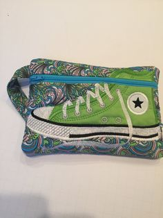 High Top Shoe Zippered Pouch, Turquoise, Coral, and Lime Green, Bag, Wristlet by JazzyJoDesigns on Etsy