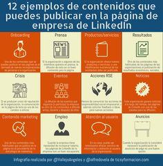 12 ejemplos de contenidos que puedes publicar en la página de empresa de LinkedIn #Infografia #Contenidos #SocialMedia Community Manager, Marketing, Management, Social Media, Instagram, Infographics, Euro, Blog, Socialism