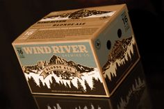 Wind River Brewing Co. Mark Geradot designed the beer packaging for Wind River Brewing Co. The packing system includes 16 oz cans and custom-designed 12-pack carton.