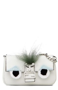 Fendi 'Micro Monster' Leather & Genuine Mink Fur Baguette (Extra Small) available at #Nordstrom