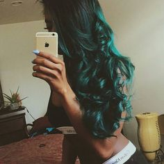 remycelebrityhair: Dark Roots Aquamarine Wavy Hair Periwinkle Coffin Nails F Dark Teal Hair, Color Your Hair, Dark Roots, Periwinkle, Wavy Hair, Coffin Nails, Girl Hairstyles, Girlfriends, Slay