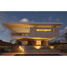 Modern Home in Brazil Exudes Elegance with Stylish Contemporary... ❤ liked on Polyvore