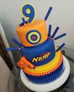Nerf Cake 3 tier nerf gun cake Informations About Nerf Cake 3 tier nerf gun cake Pin You can easily Nerf Birthday Party, Nerf Party, 11th Birthday, Birthday Cakes For Boys, Birthday Ideas, Bolo Nerf, Nerf Gun Cake, Pistola Nerf, Gun Cakes