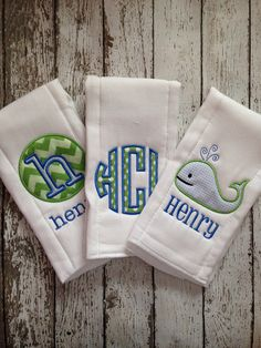 Set of 3 Personalized Burp Cloths  Diaper Cloths  by Rubyandoliver, $30.00