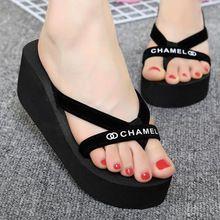 2016 nuevas Mujeres Del Verano flip flops moda cuñas plataforma flip plataforma de zapatillas de playa sandalias de las mujeres negro zapatos casuales XD2756(China (Mainland))