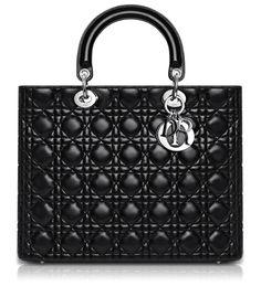 """Lady Dior    Grand Sac """"Lady Dior"""" Cuir Noir"""