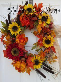 FALL DOOR WREATH...Fall Door Decor Wreath....Seasonal Door Wreath ....Fall Season Wreath....Autumn Decor Wreath...Front Door Decor Wreath... by AutumnsEchoShoppe on Etsy