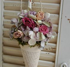 dried flower arrangements | Dried Flower Arrangement Vintage French Book Page Cone Mothers Day ...