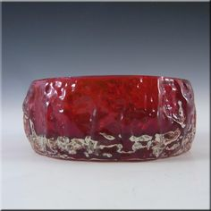 Whitefriars/Baxter Ruby Red Glass Textured Bark Bowl 9688 - £20.00