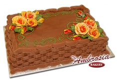 Fall Roses on Chocolate (Cakes) Fall Birthday Cakes, Birthday Sheet Cakes, Cake Decorating Techniques, Cake Decorating Tips, Basket Weave Cake, Sheet Cakes Decorated, Sheet Cake Designs, Buttercream Birthday Cake, Fall Cakes