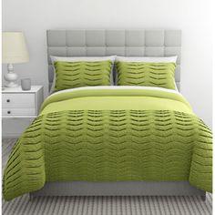 Pleated Tucks Bedding Duvet Set, Green