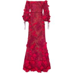 Marchesa Notte Off-the-shoulder embroidered tulle gown ($1,500) ❤ liked on Polyvore featuring dresses, gowns, gown, red ball gown, red off shoulder dress, off-the-shoulder dress, off the shoulder evening dress and red carpet dresses