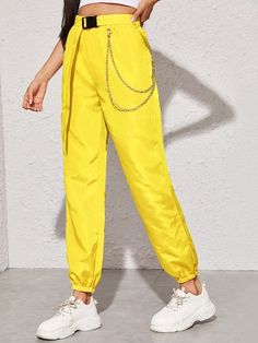 Shop Neon Yellow Chain Detail Belted Cargo Pants at ROMWE, discover more fashion styles online. Neon Yellow Pants, Yellow Pants Outfit, Cargo Pants Outfit, Yellow Clothes, Neon Pants, Yellow Outfits, Yellow Belt, Dance Outfits, Cool Outfits