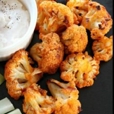 An amazing side dish. Frank's Red Hot Sauce is a must for this recipe. - Cauliflower Buffalo Bites
