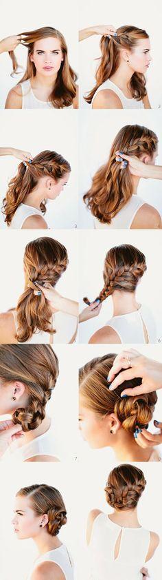 French Braid Bun Hair Tutorial Hair Hair braid and bun braided bangs. My Hairstyle, Pretty Hairstyles, Braided Hairstyles, Wedding Hairstyles, Hairstyle Tutorials, Hairstyle Ideas, Mermaid Hairstyles, Side Hairstyles, French Plait Hairstyles