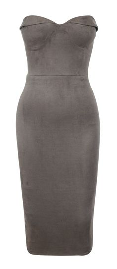 Clothing : Bodycon Dresses : 'Pia' Taupe Suedette Strapless Bodycon Dress $165