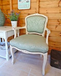Beautiful Bedroom Chair in Duck Egg Blue Upholstery & Painted with Annie Sloan Old Ochre for the Classic Shabby Chic Look. French Louis Chateau Inspired.