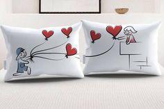 """StellaMia """"Balloons"""" Pillowcase Set for Couples"""