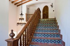 Colorfully tiled risers are a traditional detail in Spanish Colonial design, and this is a lovely example. Love these stairs House Design, Romantic Homes, Victorian Homes, Mediterranean Style Homes, New Homes, Colonial House, Spanish House, Spanish Style Homes, Vacation Home
