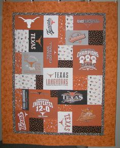 Longhorn commissioned t-shirt quilt like the composition - Tylers Shirts - Ideas of Tylers Shirts - Longhorn commissioned t-shirt quilt like the composition Lap Quilts, Strip Quilts, Quilt Blocks, Quilting Projects, Quilting Designs, Sewing Projects, Football Quilt, Texas Longhorns, Quilt Making