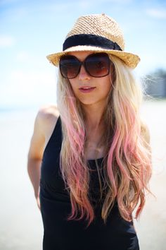 color streaks in hair.