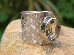 HANDCRAFTED 925 SILVER RING FREE SIZE GREEN AMETHYST SILVERANDSOUL JEWELLERY