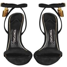 TOM FORD Maison Padlock Suede Sandal   Harrods ($910) ❤ liked on Polyvore featuring shoes, sandals, heels, tom ford sandals, suede sandals, tom ford, suede shoes and heeled sandals