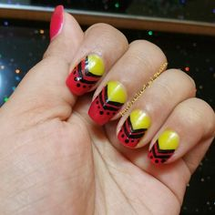 Tribal look red nails