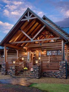This is what I love!!! Stone and awesome inviting entrance! Charming Log Home Near a 155-Acre Lake