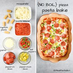 No boil pizza pasta bake has all of your favorite pizza flavors piled up together in a simple casserole! This version is a no boil version, so just load up your casserole dish and bake!