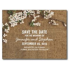 Rustic Burlap Country Save The Date Postcard