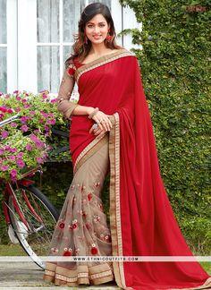Distinctive Faux Chiffon Designer Half N Half saree