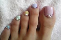 Pastel Nail Colors With Rhinetones Pedicure Nicole Gervais Gel Toes