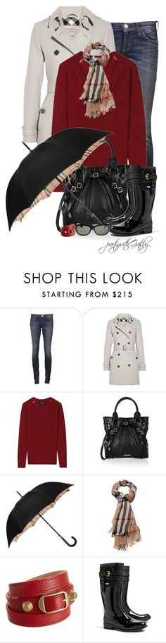 """""""Rainy Days and Mondays..."""" by partywithgatsby ❤ liked on Polyvore featuring Current/Elliott, Burberry, Balenciaga, Ray-Ban, women's clothing, women, female, woman, misses and juniors"""